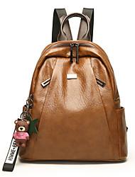 Недорогие -Жен. Мешки PU рюкзак Молнии Животное Черный / Темно-коричневый