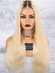cheap -Virgin Human Hair 360 Frontal 6x13 Closure Wig Deep Parting Kardashian style Brazilian Hair Natural Straight Blonde Wig 150% Density with Baby Hair Thick Updo with Clip With Bleached Knots Blonde