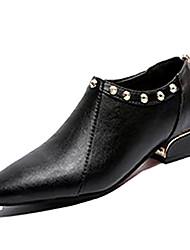 halpa -Naisten PU Kevät Bootsit Paksu korko Terävä kärkinen Musta / Vaalean ruskea