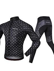Χαμηλού Κόστους -Realtoo Μακρυμάνικο Φανέλα με κολάν για ποδηλασία - Μαύρο Ποδήλατο Spandex Κλασσικά / Μικροελαστικό