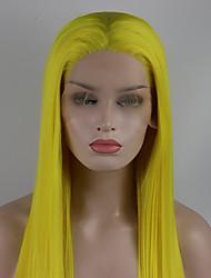 voordelige -Pruik Lace Front Synthetisch Haar Dames Recht Goud Gratis deel 180% Human Hair Density Synthetisch haar 18-26 inch(es) Verstelbaar / Kant / Hittebestendig Goud Pruik Lang Kanten Voorkant Geel