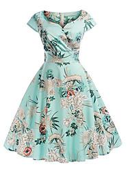 Недорогие -Жен. Тонкие С летящей юбкой Платье - Геометрический принт, Цветочный С принтом V-образный вырез Средней длины