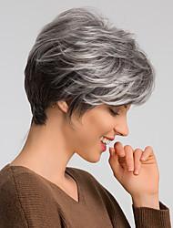 voordelige -Human Hair Capless Pruiken Echt haar Natuurlijk recht Pixie-kapsel Modieus Design / Gemakkelijke dressing / Comfortabel Donker Grijs Kort Zonder kap Pruik Dames / Natuurlijke haarlijn