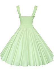 tanie Modna odzież-Damskie Puszysta Vintage Bawełna Linia A Sukienka - Solidne kolory Pasek Do kolan