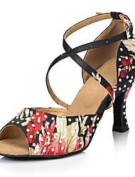 Недорогие -Жен. Обувь для латины Сатин На каблуках Цветы Тонкий высокий каблук Персонализируемая Танцевальная обувь Черный