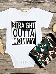 お買い得  -赤ちゃん 男の子 ストリートファッション 日常 プリント 半袖 ポリエステル ワンピース ホワイト