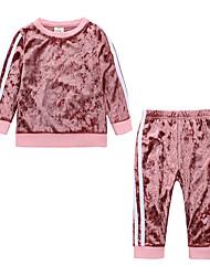 levne -Dítě Dívčí Na běžné nošení / Základní Denní / Sport Jednobarevné Dlouhý rukáv Standardní Standardní Bavlna Sady oblečení Rubínově červená / Toddler