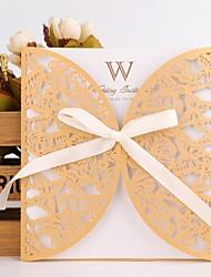 Недорогие -Боковой сгиб Свадебные приглашения 20 - Пригласительные билеты Художественный Чистая бумага