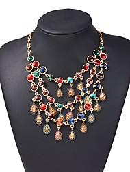 Недорогие -женский европейский / модный / многослойный сплав / драгоценный камень&хрустальное ожерелье