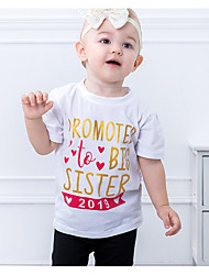 levne -Děti Dívčí Základní Denní Jednobarevné Krátký rukáv Standardní Bavlna / Polyester Blůzky Bílá