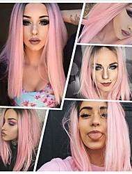 voordelige -Pruik Lace Front Synthetisch Haar KinkyRecht Zwart Gelaagd kapsel Zwart / Roze 130% Human Hair Density Synthetisch haar 26 inch(es) Dames Dames Zwart / Roze Pruik Gemiddelde Lengte Kanten Voorkant