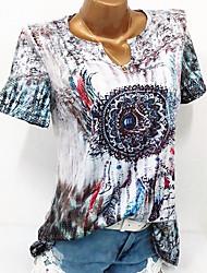 Недорогие -Жен. Цветочный / С принтом Большие размеры - Блуза Геометрический принт / Контрастных цветов / Весна / Лето / Осень / Зима