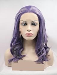 voordelige -Pruik Lace Front Synthetisch Haar Dames KinkyRecht / Watergolf Donker Grijs Gelaagd kapsel 130% Human Hair Density Synthetisch haar 16 inch(es) Dames / Kleurgradatie Donker Grijs / Paars Pruik Kort