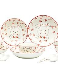 abordables -12 pièces Bols Plats de Service Ensemble en porcelaine Vaisselle Porcelaine Céramique Service en terre Animaux Mignon Résistant à la chaleur