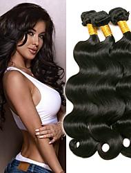 Недорогие -3 Связки Бразильские волосы Естественные кудри Не подвергавшиеся окрашиванию Головные уборы Человека ткет Волосы Уход за волосами 8-28 дюймовый Естественный цвет Ткет человеческих волос