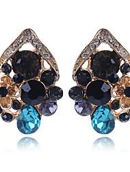 hesapli -1 çift Kadın's Vidali Küpeler - Simüle Elmas Çiçek sevimli Stil Zarif Mücevher Gökküşağı Uyumluluk Düğün Parti