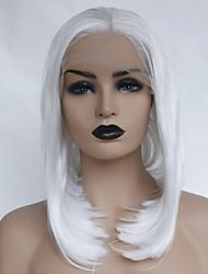 voordelige -Pruik Lace Front Synthetisch Haar Dames Recht Wit Bobkapsel / Middelste stuk Synthetisch haar 12-16 inch(es) Zacht / Hittebestendig / Dames Wit Pruik Kort Lijmloze / Kanten Voorkant Wit / lijmloze