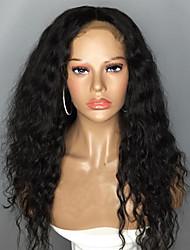voordelige -Echt haar Kanten Voorkant Pruik Zijdeel stijl Braziliaans haar Golvend Zwart Pruik 130% Haardichtheid met babyhaar Natuurlijke haarlijn Voor donkere huidskleur 100% Maagd 100% handgebonden Zwart Dames