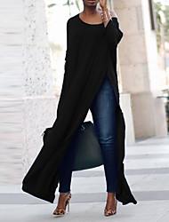 Недорогие -женская хлопковая свободная футболка - однотонная шея