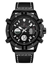 Недорогие -Муж. Спортивные часы Цифровой Натуральная кожа Черный / Коричневый Защита от влаги Календарь Фосфоресцирующий Аналоговый На каждый день Мода - Черный Кофейный Серебро / черный