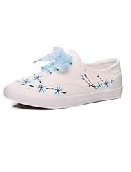 hesapli -Kadın's Ayakkabı Kanvas Sonbahar Çıtı Pıtı Spor Ayakkabısı Düz Taban Yuvarlak Uçlu Günlük / Dış mekan için Yeşil / Pembe / Açık Mavi