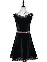 お買い得  -ラテンダンス ドレス 女性用 性能 ベルベットシフォン フリル / クリスタル / ラインストーン ノースリーブ ドレス
