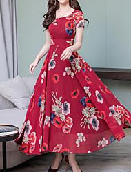 Недорогие -Жен. На выход Богемный Изысканный Оболочка Платье - Цветочный принт, С принтом Средней длины