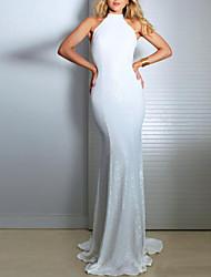 Недорогие -Жен. Классический Оболочка Платье - Однотонный, Открытая спина / Пайетки Макси