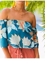 abordables -Tee-shirt femme en vrac / à la plage - floral à l'épaule