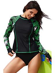 Χαμηλού Κόστους -Γυναικεία Βασικό Πράσινο του τριφυλλιού Προκλητικό Ένα κομμάτι Μαγιό - Γεωμετρικό Τροπικό φύλλο Στάμπα L XL XXL Πράσινο του τριφυλλιού / Sexy