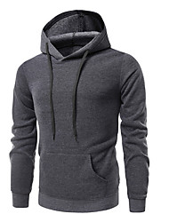 cheap -Men's Street chic Hoodie - Solid Colored Black XL