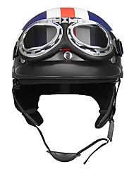 Недорогие -Ретро белая звезда мотоцикл половина лица шлем байкер скутер с солнцезащитным козырьком уф-очки кафе гонщик