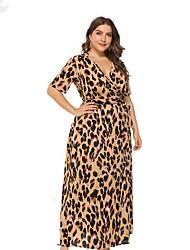Недорогие -Жен. Большие размеры Классический Оболочка Платье - Леопард Завышенная Глубокий V-образный вырез Макси / Сексуальные платья