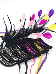 Недорогие -Принцесса Маски / Венецианская маска / Перо Чистая Шляпа Взрослые Секси Жен. Желтый / Розовый / Цвет фуксии Пластик / Перья Для вечеринок Косплэй аксессуары Хэллоуин / Карнавал / Маскарад костюмы