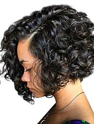 Недорогие -Натуральные волосы Лента спереди Парик Стрижка боб стиль Бразильские волосы Кудрявый Парик 130% 150% 180% Плотность волос с детскими волосами Жен. Средние