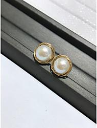 hesapli -1 çift Kadın's kıvrımlı Vidali Küpeler - 18K Altın Kaplama Mücevher Beyaz Uyumluluk Dışarı Çıkma Festival
