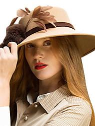 Недорогие -Elizabeth Чудесная миссис Мейзел Кентукки шляпа дерби шляпа Дамы Ретро Жен. Свет верблюд  Перья Конструкция САР Шерсть Перья костюмы
