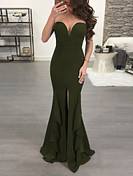 cheap -Women's Going out Club Basic Maxi Slim Sheath Dress - Solid Colored Strapless Spring Green Black M L XL / Sexy