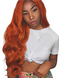 cheap -Synthetic Lace Front Wig Body Wave Style Middle Part Lace Front Wig Brown Orange / White / Blue Synthetic Hair 24 inch Women's Adjustable / Party / Women Brown Wig Long Cosplay Wig / Yes