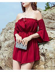 저렴한 -여성용 비치 스트리트 쉬크 와인 롬퍼스, 솔리드 S M L 긴 소매
