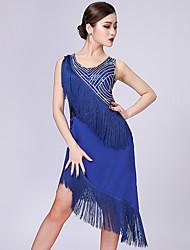 Χαμηλού Κόστους -Λάτιν Χοροί Φορέματα Γυναικεία Επίδοση Mohair Φούντα / Παγιέτες Αμάνικο Φόρεμα