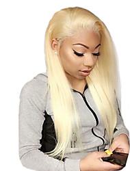 preiswerte -Unbehandeltes Haar Vollspitze Perücke Brasilianisches Haar Glatt Blond Perücke 130% Haardichte mit Babyhaar Beste Qualität Schlussverkauf mit Clip Blond Damen Mittellang Echthaar Perücken mit Spitze