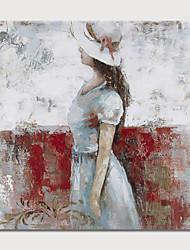 baratos -Pintura a Óleo Pintados à mão - Abstrato Pessoas Modern Incluir moldura interna