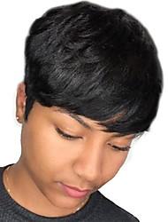 tanie -Peruki bez czepka z naturalnych włosów Włosy naturalne Naturalnie proste Fryzura Pixie Modny design / Nowy design / Nowoczesne Czarny Krótkie Bez czepka Peruka Damskie / Naturalna linia włosów