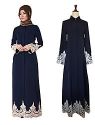 Χαμηλού Κόστους -Ενηλίκων Γυναικεία Δαντέλα Etnic Αραβικό φόρεμα Αμπάγια Φόρεμα Kaftan Για Halloween Καθημερινά Ρούχα Φεστιβάλ Δαντέλα Ελαστίνη Πολυεστέρας Patchwork Δαντέλα Μακρύ Μήκος Φόρεμα 1 ζώνη