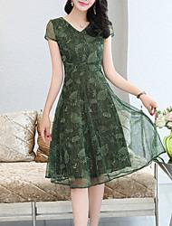 رخيصةأون -فستان نسائي قياس كبير شيفون طباعة طول الركبة هندسي V رقبة مناسب للخارج