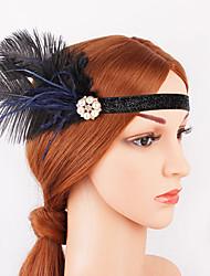 Χαμηλού Κόστους -Υπέροχος Γκάτσμπυ Δεκαετία του 1920 Gatsby Στολές Γυναικεία Κορδέλα μαλλιών του 1920 Καλύμματα Κεφαλής Μαύρο Πεπαλαιωμένο Cosplay Πάρτι Χοροεσπερίδα Φεστιβάλ
