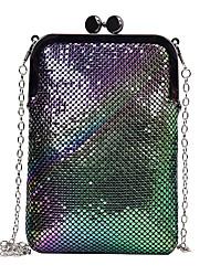 abordables -Mujer Bolsos PU Teléfono Móvil Bolsa Cremallera Diseño Geométrico Negro / Plata / Arco Iris