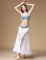 cheap -Belly Dance Outfits Women's Training / Performance Polyester Lace / Ruching Sleeveless Dropped Skirts / Bra / Waist Accessory