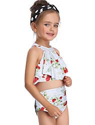 ราคาถูก -เด็ก / Toddler เด็กผู้หญิง พื้นฐาน / สไตล์น่ารัก Sport / ชายหาด ลายดอกไม้ ระบาย / ลายพิมพ์ เสื้อไม่มีแขน ไนลอน ชุดว่ายน้ำ ขาว